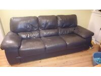 Lovely 3 seater brown leather sofa/couch for sale