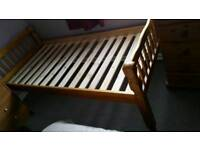 Solid pine wooden bed