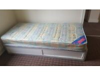 Single bed mattress with base and single bed base
