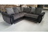 FREE DELIVERY / THE EXCLUSIVE HELIX CHENILLE FABRIC AND LEATHER CORNER SOFA / 2 COLOURS **