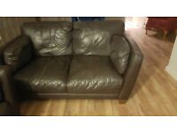 2 piece sofa set. Leather dark brown £80 collection only