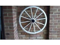 """Vintage cart wheel 30 1/2"""" diameter ideal display or garden ornament wooden with metal rim and axle"""