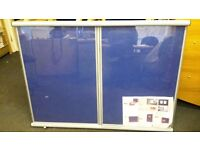 Noticeboard 4 x 3 insertable with a lock glass front and blue felt