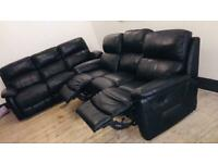 3 Seater Recliner sofa set Power & Manual Black Leather