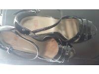 Black patent high heeled faith sandals size 5 (38)