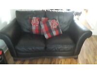 2 & 3 black leather sofas