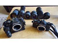 Camera Pentax MV1 & Chinon CE-4 with lenses
