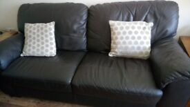 3 and 2 brown leather sofas hardly used