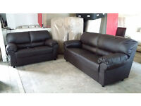 NEW Graded Brown or Black Leather 2+3 Seater Sofa Suite FREE LOCAL DELIVERY