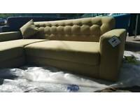 EX DISPLAY NEW Green Chaise Corner Sofa DELIVERY AVAILABLE