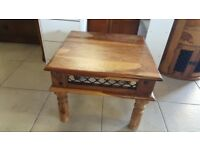 Sheesham Rustic Coffee Table With Decorative Wrought Iron Sides