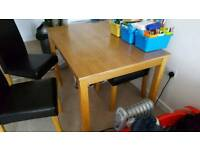 Oak dining table and faux leather chairs set