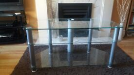 TV stand - glass and silver grey metal 2 shelves