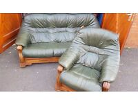 Green leather sofa and chair. FREE delivery in Derby
