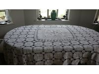 Lace bedspread and 2 lace french cafe style curtains