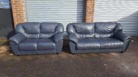 Lovely blue leather sofa suite. 3 and 2 seater sofas. good used condition. can deliver