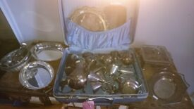 Assorted silver plate tableware