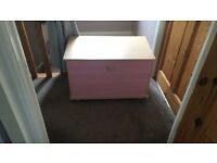 Girls pink wooden toy box