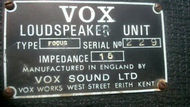 Vox Vintage Focus Soundsource PA SPeakers 1969/1970's £200 o.n.o