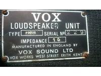 Vox Vintage Focus Soundsource PA SPeakers 1969/1970's £200 o.n.o