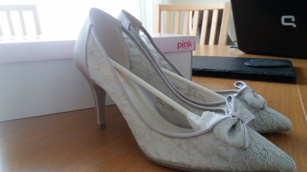 3634f9ba9dc7 Silver-grey lace high heel shoes. Size 4. Ideal mother of the bride