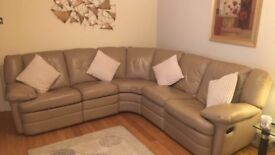 Latte right angled corner recliner suite, single recliner latte chair