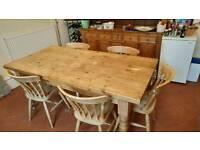 Beautiful Farmhouse Pine Table & Chairs