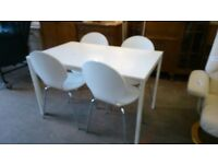 White Dining Table with 4 Chairs (delivery available)