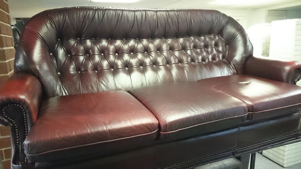 Brown leather suite 3 seat sofa and arm chair studded for Leather studded couch
