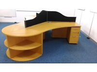 3 SOLID OAK DESKS, Privacy Partitions, Pedestals and End Units