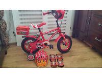 Apollo Fire Bike (2013 edition i.e. red wheels) + Helmet & pads