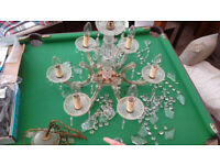Genuine Italian imported crystal CHANDELIER. Needs building up - may have one or two missing drops
