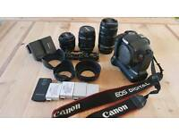 Canon EOS (550D) camera and 3 lenses