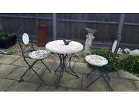 Mosaic metal table & 2 chairs