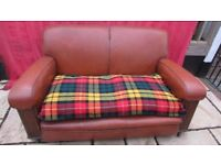 Genuine vintage/retro brown leather sofa ( and chair)