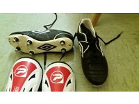 Size 3 football boots with segs and shin pads excelent condition worn once only