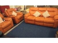 BRAND NEW!!LAZ- BOY 3 seater recliner plus 2 electric recliner chairs*ORANGE SUEDE*