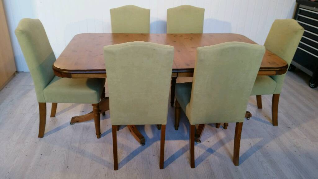 Solid Pine Ducal Extendable Dining Table And 6 Chairs