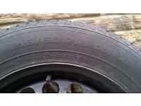 4 Nokian 215/60/R16 99H winter tyres on steel wheels.