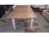 NEW Ex-Display Oak Extending Dining Table with White Painted Legs CAN DELIVER VIEW COLLECT NG177