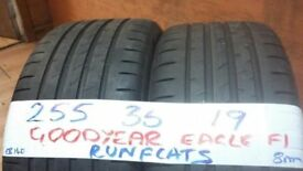 PAIR MATCHING 255 35 19 GUDYEAR R/FLATS 7mm tread £120pair SUP & FITD OVR 3000 TYRES IN STOCK *7 DYS