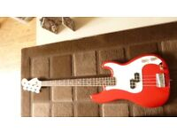 electric bass guitar with jackleads and bag plus strap