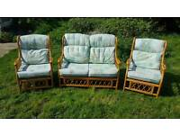 Cane wicker conservatory suite