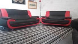 Fantastic black and red leather designer sofa set