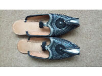 Hand crafted beaded slippers size 4 -4.5 as new