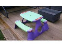 Garden Child Plastic Picnic Bench Table