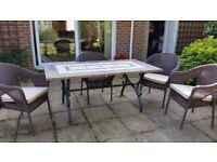 4 Garden Chairs with cushions and large marble mosiac top table
