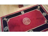 Chinese rugs (2) Black Red and Whitish