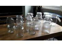 16 glass jars, various sizes