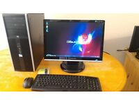 """SAVE £50 -SSD Very Quick & Fast HP 8000 Elite Business PC Desktop Computer & Samsung 21""""LCD"""